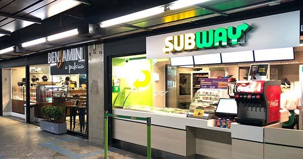 Loja Subway e Benjamin A Padaria Pátio Metrô São Bento