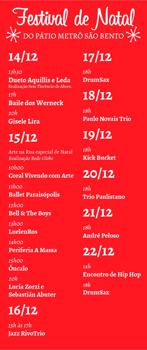 Programação Dezembro Festival de Natal Pátio Metrô São Bento